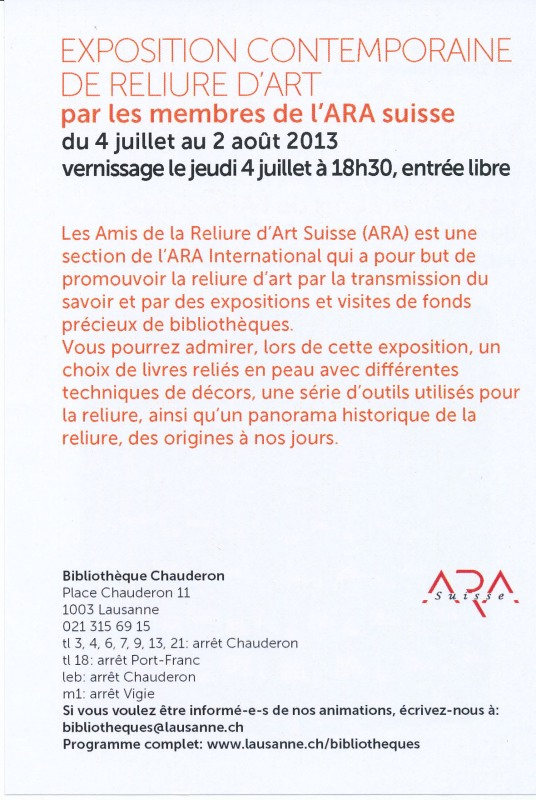 Affiche exposition contemporaine de reliure d'art